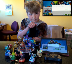 Showing his empty wallet after buying useless Skylanders characters. Insert is the Activision error message.